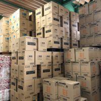 浜田紙業の倉庫は大量のティッシュの在庫があります