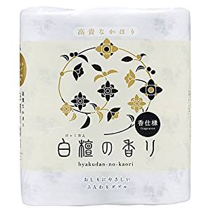 白檀の香り4ロールトイレットペーパーです。お香の香りがする高級トイレットペーパーです。