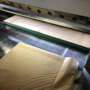 お客様のご要望に合わせて浜田紙業断裁機にてご指定のサイズに緑の紙を断裁します。