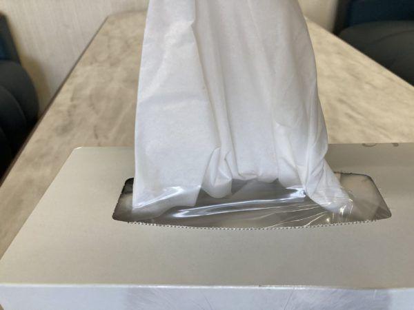 ティッシュを取り出すと紙紛が飛ばない