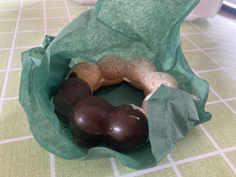 ドーナツをグリーンパーチで包みました
